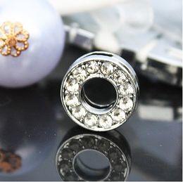 50pcs lot 10mm O Full Rhinestones Bling Slide Letters DIY Alloy Accessories Fit For 10MM wristband bracelet 0031