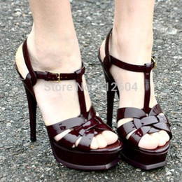 Wholesale Name brand Hot selling tribute patent leather high heel platform sandals ankle strap fastening dress pumps open toe real photo