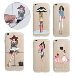 Лакокрасочные магазины Онлайн-Ультра тонкий прозрачный мягкий ТПУ Дело моды Покупки Girl Painting Case для iphone 7 6s 6 плюс Samsung S7 край OPP BAG