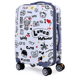 Canada Femmes Rolling Luggage Bagages Trendy 20 Pouces Cartoon Animal Plant Letter Print Spinner Bagage Trolley Case DHL gratuitement Offre