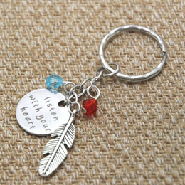12pcs lot Pocahontas Inspired keyring Listen With Your Heart Silver colored crystal for women or girls keychain