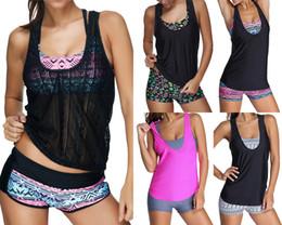 Tankinis mulheres s On-line-2017 Sexy Swimwear Mulheres Três peças Tankini com Shorts Desportivos Mulheres Swimsuit S tamanho S ~ 3XL