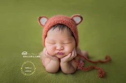 Newborn mohair fox hat photo prop Baby crochet animal hat photography prop