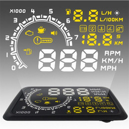 Wholesale Universal Car HUD Head UP LCD Display OBDII Car Styling Car Kit fuel Overspeed KM H W02 with Anti slip Pad