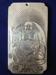 Chinese Old tibetan Maitreya tibet Silver Bullion thanka amulet 136g