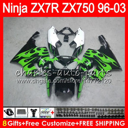8Gifts 23Colors For KAWASAKI NINJA ZX7R 96 97 98 99 00 01 02 03 green flames 18HM6 ZX750 ZX 7R ZX-7R 1996 1997 1998 1999 2000 2003 Fairing