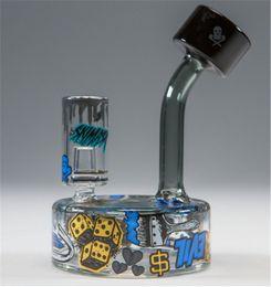 Wholesale Slum Gold x Ski Mask Puck Bubbler glass bong oil rigs bongs pipe hookah recycler perfect glass bongs China factory bongs
