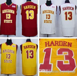 Wholesale Arizona State James Harden College Jersey University Yellow Red White Best Quality Stitched James Harden Jersey