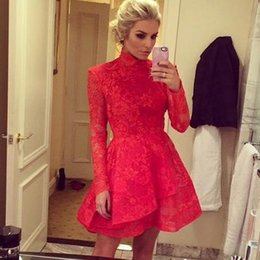 Ballkleider Charming Short Red Prom Dresses 2016 High Neck Lace Prom Dress A-line Long Sleeve Party Dresses Custom Made