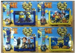 Wholesale Cheap Christmas Watches - Spiderman Despicable Me Minion Watches with Boxes Cheap Kids Cartoon Watches Wallet Purse Sets Wholesale Children's Christmas Gift