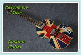 Guitares jacks en Ligne-Vente en gros-Nouvelle arrivée 4 cordes Union Jack Hofner BB2 basse guitare personnalisée disponible.