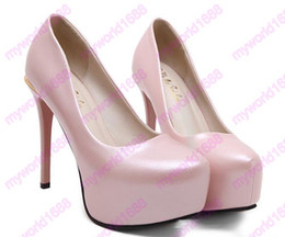 Promotion taille 34 talon rose 2017 Adorable perle rose plate-forme orteil talons hauts pompes femmes chaussures de mariage taille 34 à 39