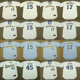 Wholesale 2017 Men s Milwaukee Brewers CECIL COOPER JIM GANTNER ROB DEER Throwback Baseball Home And Away Jerseys Stitched