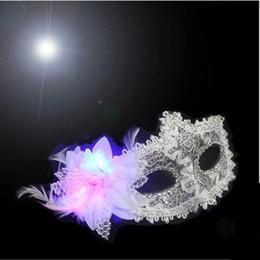 Wholesale Colorful Party Mask Princess Luminous Mask Half Face Masks Halloween Masquerade Female LED Lace Mask Adult Children s Cosplay LED Masks