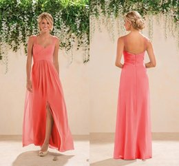 2017 Coral Beach Bridesmaids Dresses Chiffon Long A line Beaded Spaghetti Straps Crystals Split Prom Gowns Bridesmaid Dresses New Fashion