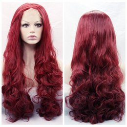 New Sexy Burgundy Red Body Wave Long Wigs with baby hair Glueless Brazilian Synthetic Lace Front Wigs for Black Women Heat Resistant