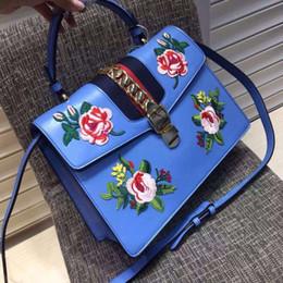 Chain bag women s handbag en Ligne-Original qualité 2016 sac brodé chaîne sac en cuir véritable sac bandoulière des femmes