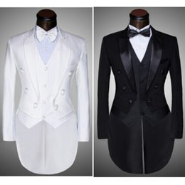 Wholesale Jacket Pants Vest Bow tie Fashion Men Suits Tailcoat Tuxedo Prom Groom Wedding White Black Slim Fit Male Singer