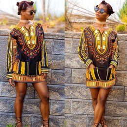 Wholesale Europe and the United States In The Autumn Of The New Fashion Women s Clothing African Totem Printing Long sleeved Dress B