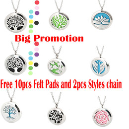 Aromatherapy Essential Oil surgical Stainless Steel Perfume Diffuser Oils Locket Necklace with chain and felt pads