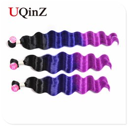 Hot Ombre Deep wave 4 pcs of Hair bulk hight quilty closure 18 20 22 silky straight Body wave