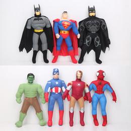 Descuento superhéroes juguetes de peluche 7pcs / lot la felpa del superhéroe del capitán América del casco de Hulk del hombre del hierro de Spider-Man de las muñecas de los vengadores juega los regalos 40cm de la Navidad del niño