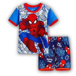 Promotion spiderman ensembles de vêtements d'été Spiderman Enfants Vêtements Set Bébés garçons à manches courtes Cartoon Pyjama Ensembles Été Enfants Coton Pijamas Boy Poupées