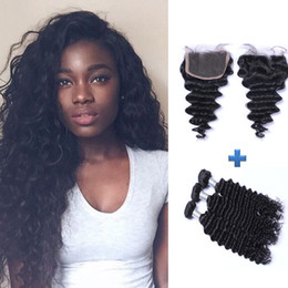 Grade 7A 4*4 Top Lace Closure With Brazilian Hair Bundles Virgin Human Hair Weave 3pcs 150g Unprocessed Peruvian Remy Human Hair Extensions