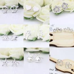 Jmyy Jewelry 925 Silver Stud Earrings Heart Star Rabbit Design For Women Party Cute Earrings Jewelry