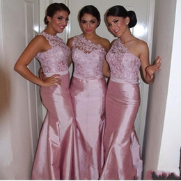 Sexy Pink Lace Mermaid Bridesmaid Dresses One Shoulder Satin Backless 2017 Long Custom Made Formal Evening Prom Gowns Maid of Honor Cheap