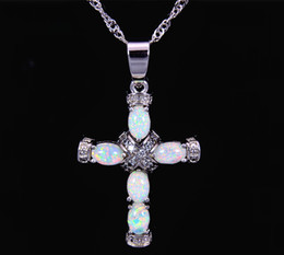Christian Cross White Fire Opal Stone Silver Plated Pendants For Women PJ16011004