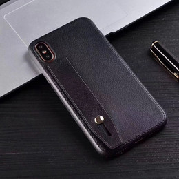 Leather Lines Phone Case For Iphone 10 X 8 7 6 6splus Phone Cover Anit-Fingerprint Anti-Shock TPU Leather Line Case With Car holder