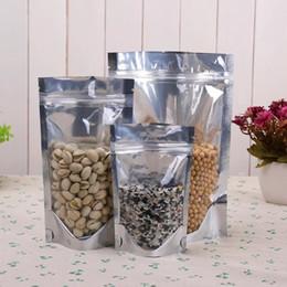 Compra Online Bolsas de embalaje reutilizables-Transparente Frente Aluminio hoja Zip Lock Bag, Plata Aluminio metálico Funda de plástico resellable para alimentos Almacenamiento de hornear