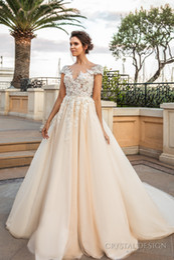 romantic princess ivory cream wedding dresses 2017 crystal design bridal sheer cap sleeves 3d flora lace appliques beaded wedding gowns