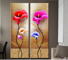 Framed 2PCS Calla Flowers Quality Canvas,genuine Hand Painted Contemporary Wall Decor floral Art Oil Painting.Multi sizes Free Shipping