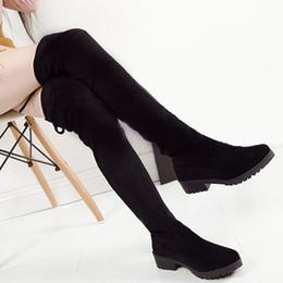 2016 Chaussures Femmes Nouveau sur le genou Cuisse Haute Black Boots Femmes Motocyclette Flats Bottes Long Low Heel Seude Cuir Chaussures long leather women boot on sale à partir de longue en cuir femmes boot fournisseurs
