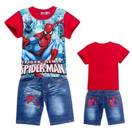 Promotion spiderman ensembles de vêtements d'été Vente en gros Spiderman été POLI ROBOCAR enfants garçon costume vêtements ensembles bébé enfants Suitst shirt jeans pantalons avion vêtements enfants vêtements ensembles