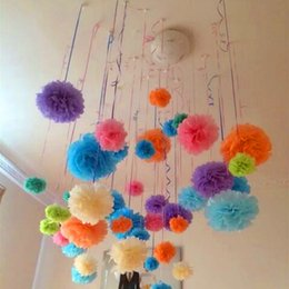 Wholesale Paper PomPom Tissue Ball Decorative Supplies Flower For Wedding Home Party Room Banquet Decoration Pompon Craft Products