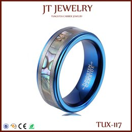 On Sale Tungsten Rings For Men 8MM Abalone Shell Inlay Center Matte Brushed Edges Blue Plated Inner Step edge Free Shipping Size 7#-13#