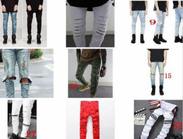 Fashion Designer New Men's Distressed Ripped Skinny Jeans Mens Shorts Jeans Slim Motorcycle Moto Biker Causal Denim Pants Hip Hop Men Jeans