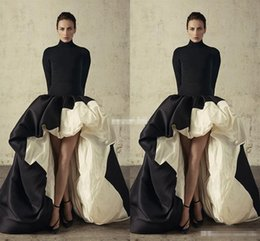 Wholesale African High Low Long Sleeves Evening Dresses High Neck Black And Ivory Satin Prom Dresses Ruffles Taffeta Formal Party Gowns Ball Gown