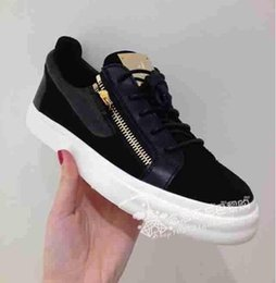 2017 new sale fashion zanottys men's and women's flat sneakers Low top black genuine leather casual shoes Free shipping size 36-46