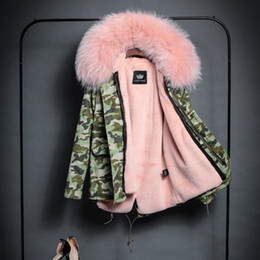 Wholesale Plus Size Women s fur collar Coat News Thick Padded Jacket Parka Camouflage green Big Neck Women s Fashion Hooded Outwear Female