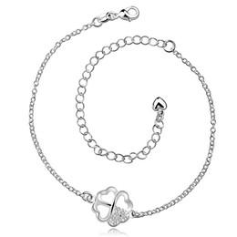 Fashion Women Leg Bracelets Foot Chains Feet Jewelry 925 silver plated Female Gam Crystal Four-leaf clover Zircon Wedding Party Beach