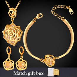 Elegant Rose Pendants Necklaces Charm Bracelets Drop Earrings 18K Real Gold Plated Cubic Zirconia Party Jewelry