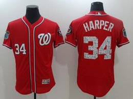 Promotion gros national 2017 Spring Training Washington Nationals Jersey # 34 Bryce Harper Hommes 100% surpiqûres Maillots de base-ball Mix pas cher Vente en gros