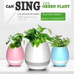 Smart Piano Playing Music Flower Pot with Bass Bluetooth Speaker LED Night Light