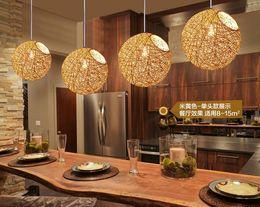 Wholesale Pendant lamps chandelier modern led lamp living room light hemp ball restaurant chandelier simple pastoral hemp woven rattan Chandelier