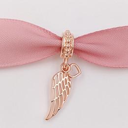 Anges ailes à vendre-Perles authentiques en argent sterling 925 Rose Angel Wings Dangle Charms s'adapte aux bijoux européens Pandora Bracelets Collier 781389 Plaqué or