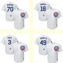 Wholesale Men s Chicago Cubs Ben Zobrist Jake Arrieta Joe Maddon David Ross White World Series Champions Team Logo Patch Player